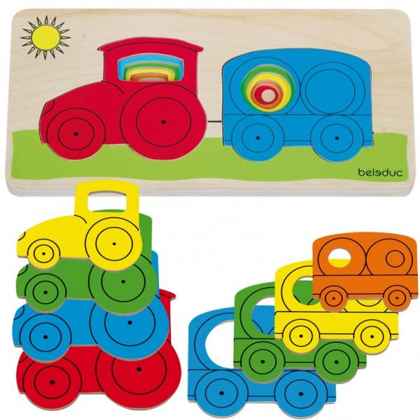 """Beleduc sluoksniuota medinė dėlionė """"Traktorius"""" (10144)"""