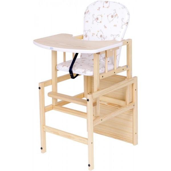 DREWEX medinė maitinimo kėdutė ANTOS Meškiukas, pušis