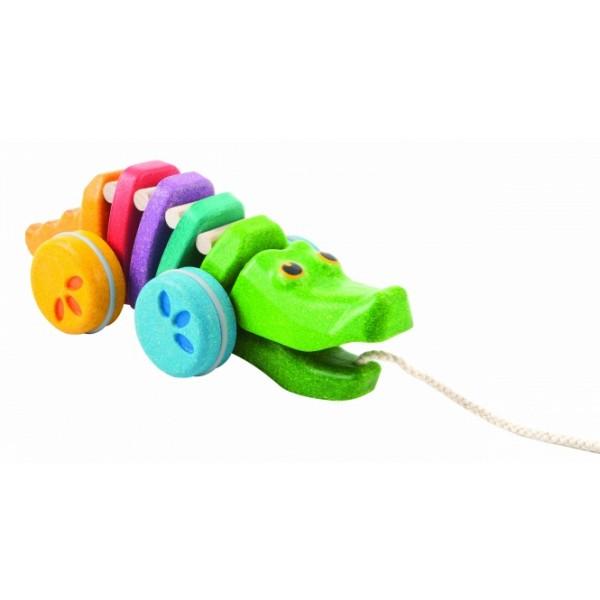 """PlanToys lavinamoji priemonė - žaislas """"Įvairiaspalvis šokantis aligatorius"""" (PT1416)"""