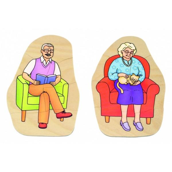 """Beleduc sluoksniuota medinė dėlionė """"Močiutė ir senelis"""" (17052)"""