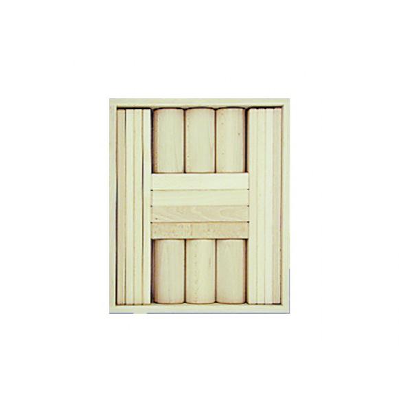 Frobel medinių kaladėlių rinkinys - 18 kaladėlių medinėje dėžėje (201105)