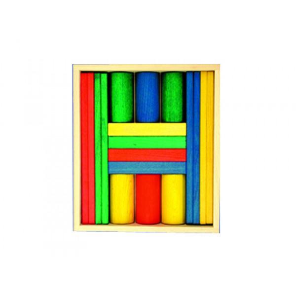 Frobel spalvotų medinių kaladėlių rinkinys - 18 kaladėlių medinėje dėžėje (202105)