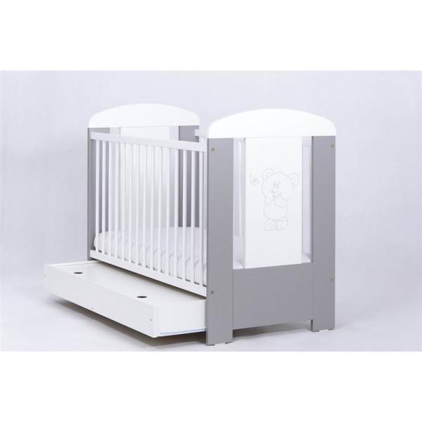DREWEX lovytė kūdikiui Meškutis ir drugelis su stalčiumi, sidabrinės spalvos