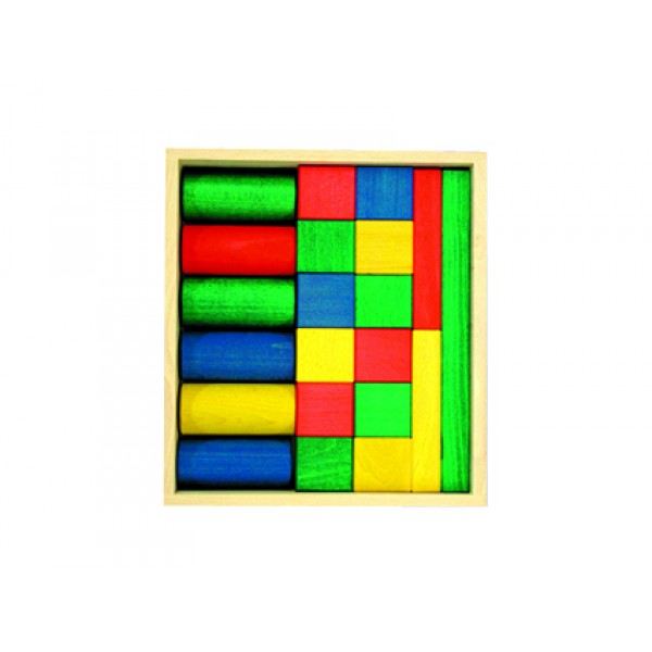 Frobel spalvotų medinių kaladėlių rinkinys - 21 kaladėlių medinėje dėžėje (202205)