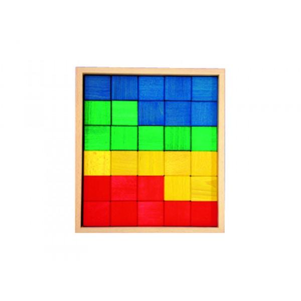 Frobel spalvotų medinių kaladėlių rinkinys - 30 kaladėlių medinėje dėžėje (205021)