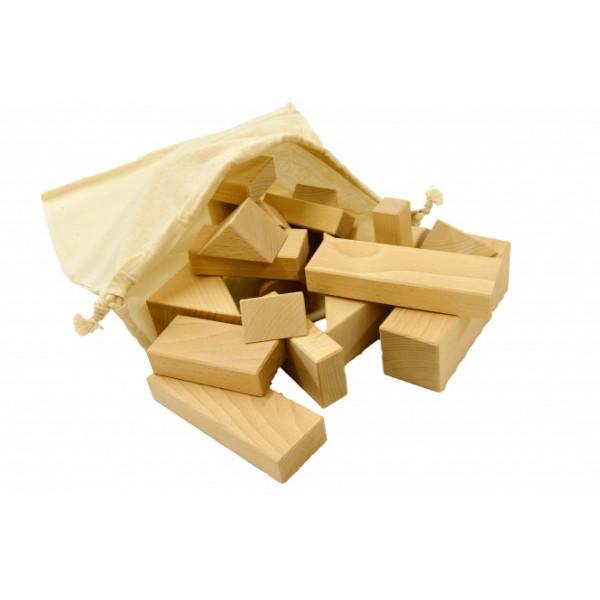 Frobel medinių kaladėlių rinkinys - 33 kaladėlės medvilniniame maišelyje (111120)