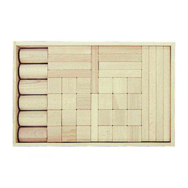Frobel medinių kaladėlių rinkinys - 44 kaladėlių medinėje dėžėje (201200)