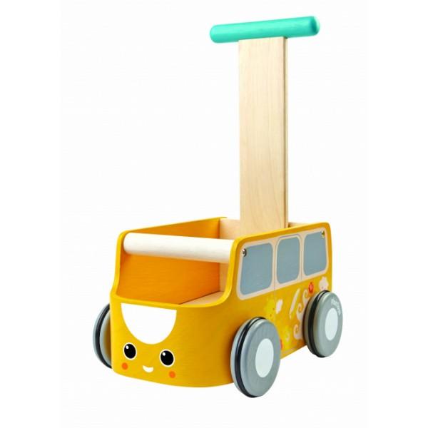 """PlanToys žaislas - stumdukas - susidėjimo dėžė """"Geltonas Autobusiukas"""" (PT5184)"""