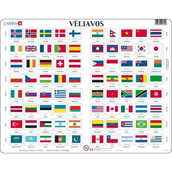Larsen lietuviška dėlionė (puzzle) Šalių vėliavos Maxi
