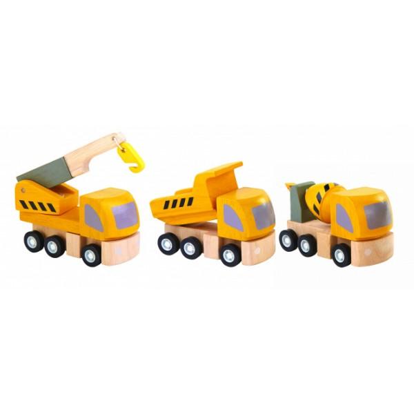"""PlanToys žaislas - 3 medinės mašinėlės """"Kelių statybos technika"""" (PT6047)"""