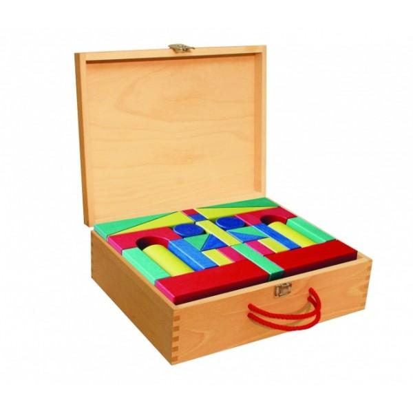 Frobel spalvotų, medinių kaladėlių rinkinys - 60 kaladėlių mediniame portfelyje (205029)