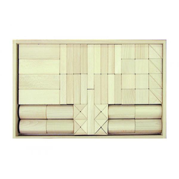Frobel medinių kaladėlių rinkinys - 62 kaladėlės medinėje dėžėje (201400)