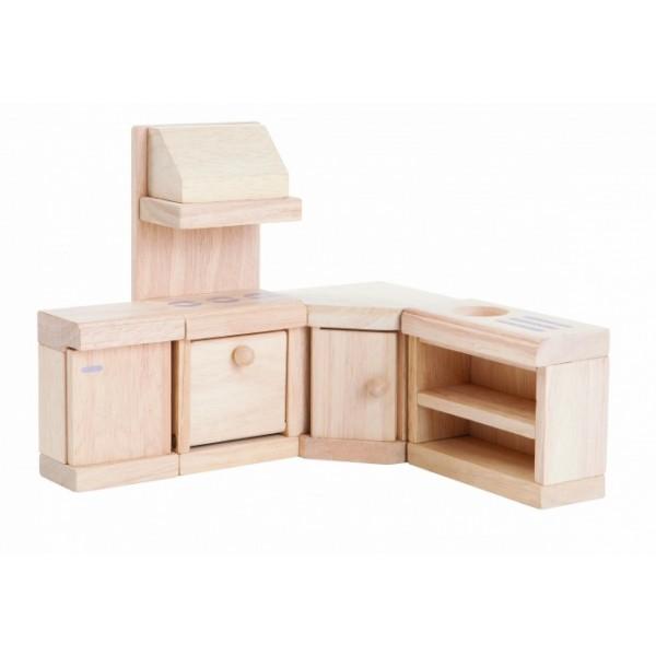 PlanToys žaislai - lėlių namelio virtuvės klasikinis rinkinys (PT9013)
