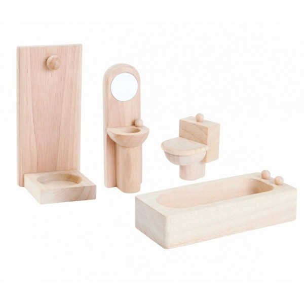 """PlanToys lavinimo priemonė - lėlių baldai """"Klasikinis dušo kambario rinkinys"""" (9014)"""