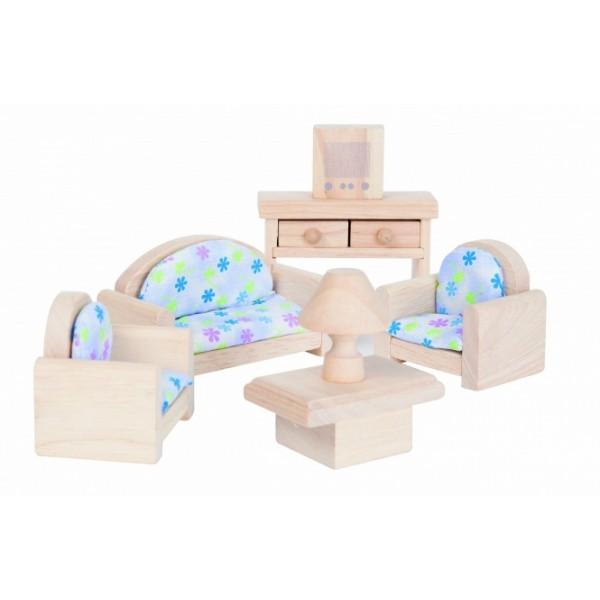 PlanToys žaislai - klasikinis lėlių namelio svetainės baldų rinkinys (PT9015)