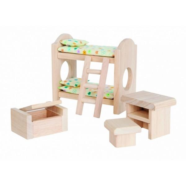 """PlanToys lavinimo priemonė - lėlių baldai """"Klasikinis vaikų miegamasis"""" (PT9502)"""