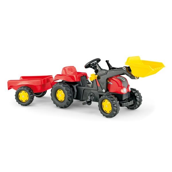 Rolly Toys Kid raudonas traktorius su priekaba, ekskavatoriumi ir buldozerio peiliu