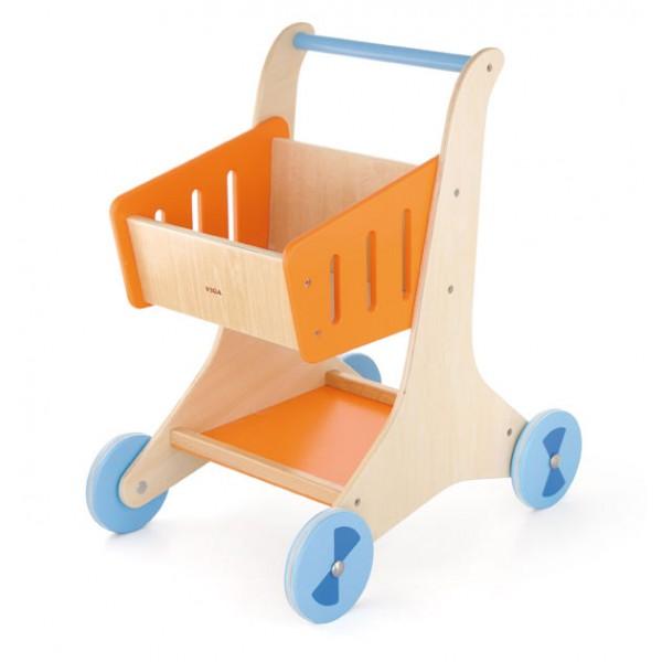 VIGA TOYS medinis pirkinių vežimėlis