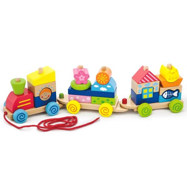 Viga Toys spalvotas medinis traukinukas