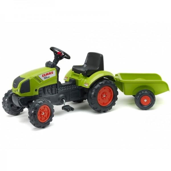 Falk Claas traktorius su pedalais, priekaba