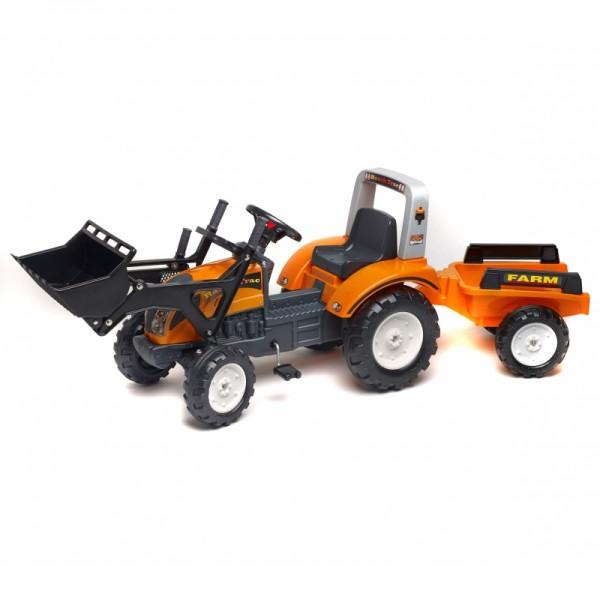 Falk Traktorius su pedalais RANCH TRAC + priekabaa + buldozerio peilis, oranžinis