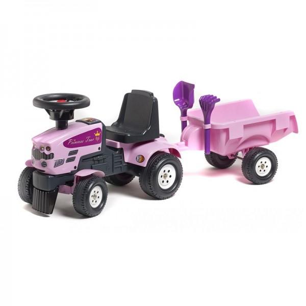 FALK Traktorius - paspirtukas su priekaba, rožinis