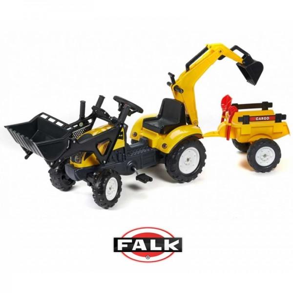 FALK CLAAS geltonasis traktorius - krautuvas- ekskavatorius su priekaba ir smėlio žaislais