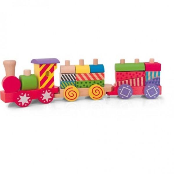 Mažas medinis traukinukas iš kaladėlių nuotrauka nr.1