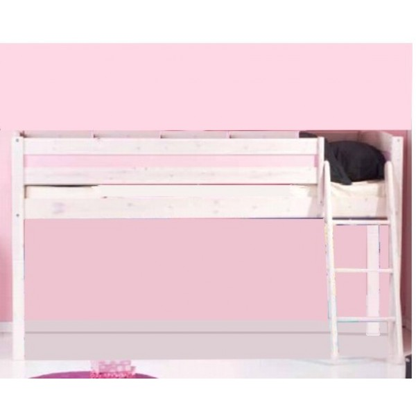 Medinė pusaukštė lova su stačiomis kopėčiomis, balinta