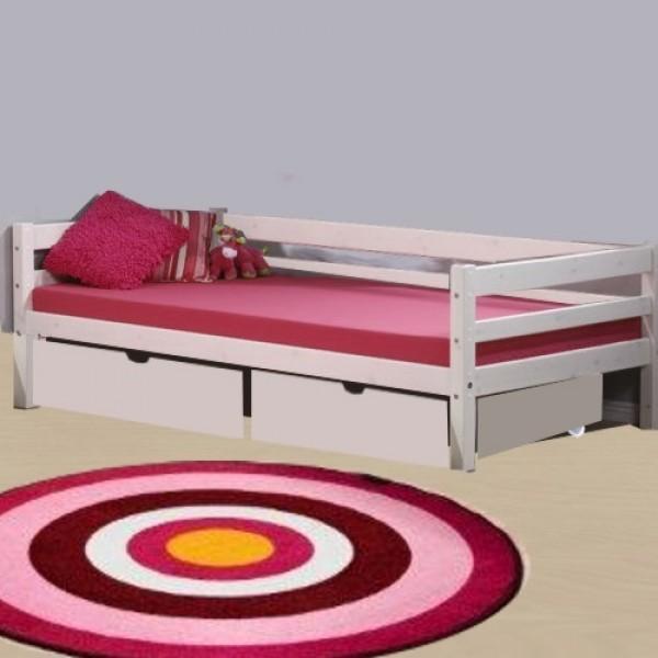 MINI lova paaugusiam vaikui/jaunuoliui 200 cm, su galiniu rėmu ir stalčiais, balinta