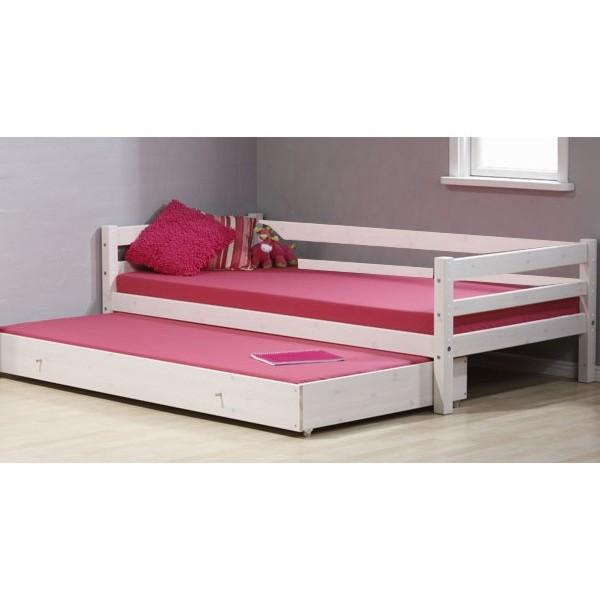 MINI lova paaugusiam vaikui/jaunuoliui 200 cm, su galiniu rėmu ir lova po lova, balinta
