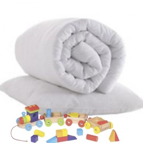 Pagalvė ir antklodė kūdikiams, balta