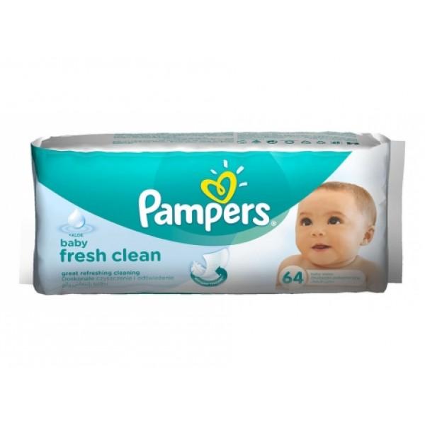 Pampers Fresh Clean drėgnos kūdikių servetėlės 64vnt.