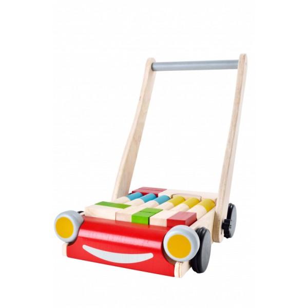 """PlanToys žaislas - stumdukas su kaladėlėmis """"Baby walker"""" (PT5123)"""