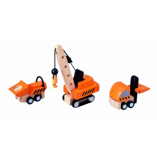 """PlanToys žaislas - 3 medinės mašinėlės """"Statybos technika"""" (PT6087)"""