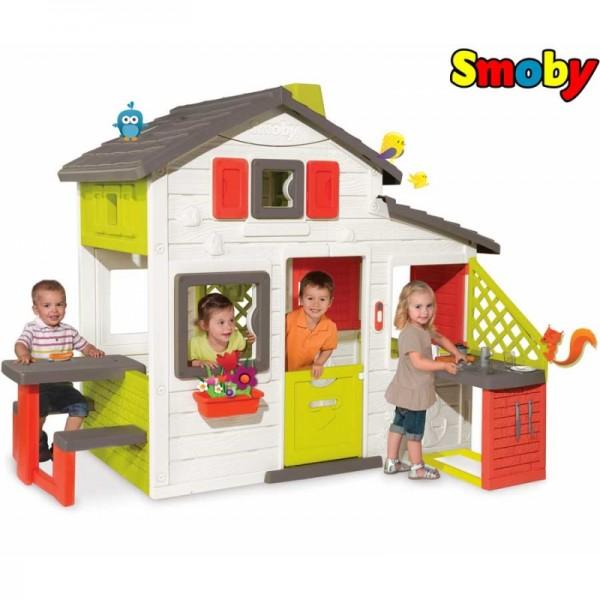 Smoby vaikiškas namelis Friends su skambučiu, stalu ir virtuvėle nuotrauka nr.3