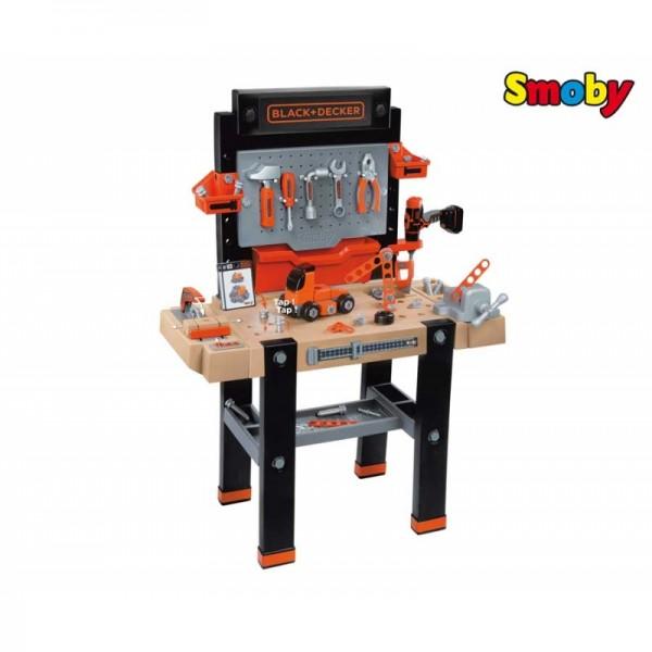 SMOBY Balck Decker Black&Decker Bricolo Utimate didelis žaislinis darbastalis su 95 aksesuarais ir grąžtu