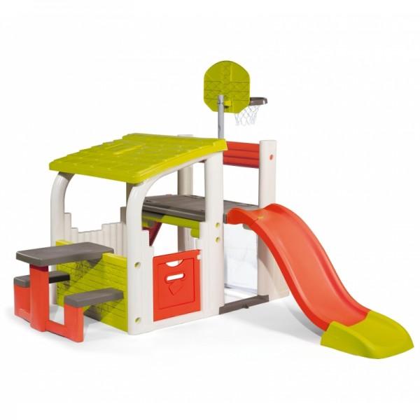 Smoby daugiafunkcijinė žaidimų aištelė su čiuožyykla, krepšiio stovu, nameliu ir staliuku
