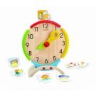 PlanToys edukacinė priemonė - žaislinis veiksmų laikrodis su kortelėmis (PT5122)