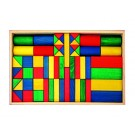 Frobel spalvotų medinių kaladėlių rinkinys - 62 kaladėlės medinėje dėžėje (202400)