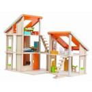 PlanToys lavinimo priemonė - lėlių namelis su stačiašlaičiu stogu (su baldais) (PT7141)