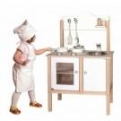 VIGA Baltoji medinė vaikiška virtuvėlė su aksesuarais