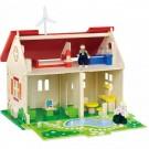 VIGA ECO medinis namelis lėlėms ir 2 lėlės
