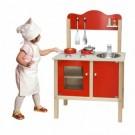 VIGA Raudonoji vaikiška virtuvėlė su aksesuarais