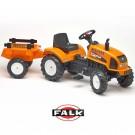 Falk Renault Celtis 436RX didelis traktorius  su atidaromu variklio dangčiu ir priekaba, oranžinis nuotrauka nr.2