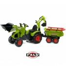 FALK didelis traktoriu CLAAS AXOS su išverčiama priekaba ir buldozerio peiliu