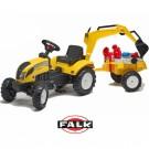 Falk RANCH Traktorius - ekskavatorius su priekaba, geltonas