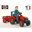 FALK KUBOTA oranžinis traktoriukas su pedalais ir priekaba