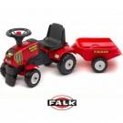 Falk Traktorius - paspirtukas su priekaba, raudonas