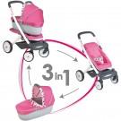 Smoby MAXI COSI Quinny Sportinis vežimėlis - vežimėlis su lopšiuku trys viename, tylūs ratukai nuotrauka nr.1